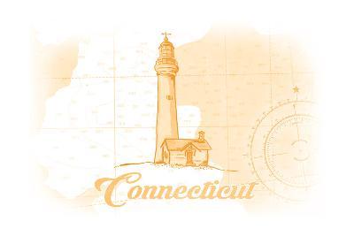 Connecticut - Lighthouse - Yellow - Coastal Icon-Lantern Press-Art Print
