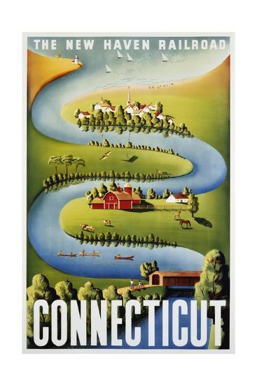 Connecticut Poster-Ben Nason-Giclee Print