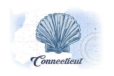 Connecticut - Scallop Shell - Blue - Coastal Icon-Lantern Press-Art Print