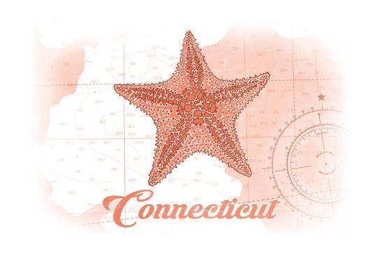 Connecticut - Starfish - Coral - Coastal Icon-Lantern Press-Art Print