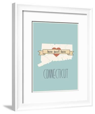 Connecticut State Map, Home Sweet Home-Lila Fe-Framed Art Print