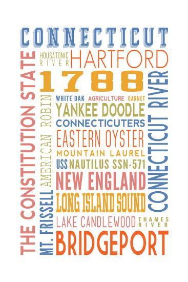 Connecticut - Typography-Lantern Press-Art Print