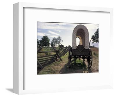 Covered Wagon on Oregon Trail, Lewis and Clark Trail, Whitman Mission, Walla Walla, Washington, USA