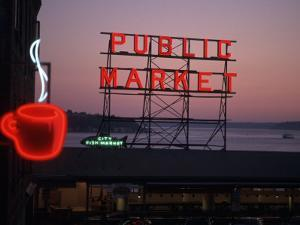 Neon Sign of Coffee Cup at Pike Place Market, Seattle, Washington, USA by Connie Ricca