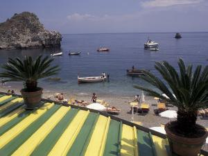 View of Mazzaro Beach from Restaurant, Taormina, Sicily, Italy by Connie Ricca