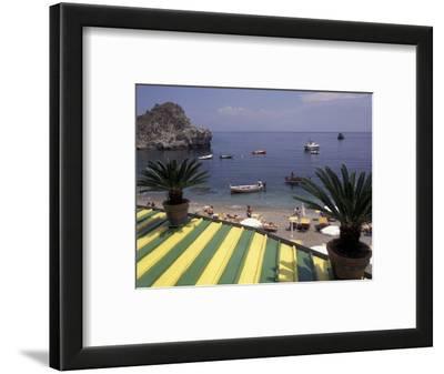 View of Mazzaro Beach from Restaurant, Taormina, Sicily, Italy