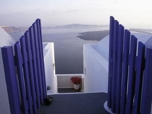 View Toward Caldera, Imerovigli, Santorini, Greece by Connie Ricca