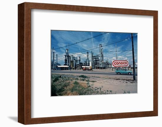 Conoco Petroleum Refinery from Amtrak Train, Usa, 1979-Alain Le Garsmeur-Framed Photographic Print