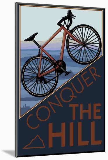 Conquer the Hill - Mountain Bike-Lantern Press-Mounted Print