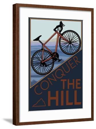 Conquer the Hill - Mountain Bike-Lantern Press-Framed Art Print