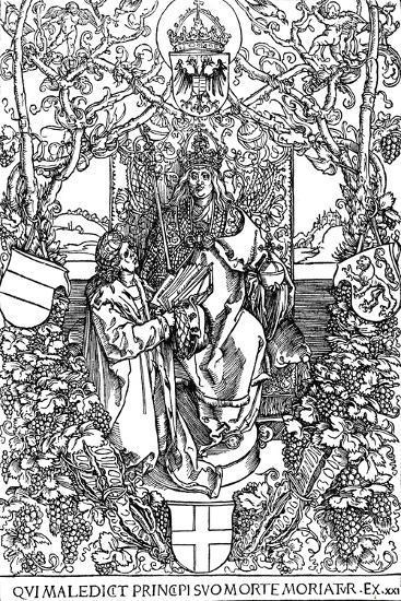 Conrad Celtes Presenting His Book Quatuor Libri Amorum to Maximilian I, 1502-Albrecht D?rer-Giclee Print