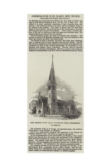 Consecration of St Mark's New Church, Tollington Park, Holloway--Giclee Print
