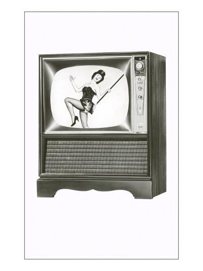 Console Television Set with Majorette--Art Print