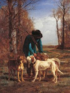Game Keeper Stops Near His Dogs by Constant Troyon