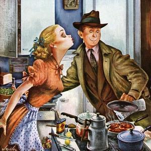 """Before Dinner Kiss?,"" April 9, 1949 by Constantin Alajalov"