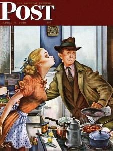"""""""Before Dinner Kiss?,"""" Saturday Evening Post Cover, April 9, 1949 by Constantin Alajalov"""