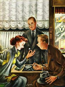 """""""Engagement Ring,"""" May 7, 1949 by Constantin Alajalov"""