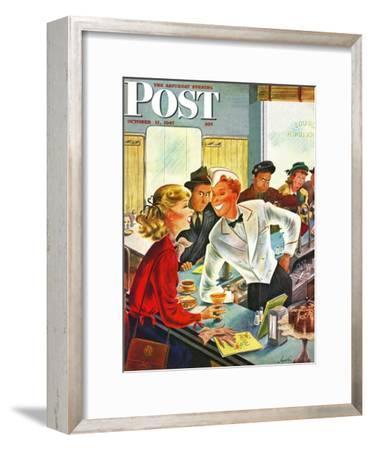 """""""Flirting Soda Jerk,"""" Saturday Evening Post Cover, October 11, 1947"""
