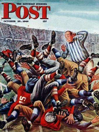 """Football Pile-up,"" Saturday Evening Post Cover, October 23, 1948"