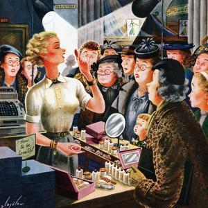 """""""Makeup Counter"""", March 10, 1951 by Constantin Alajalov"""