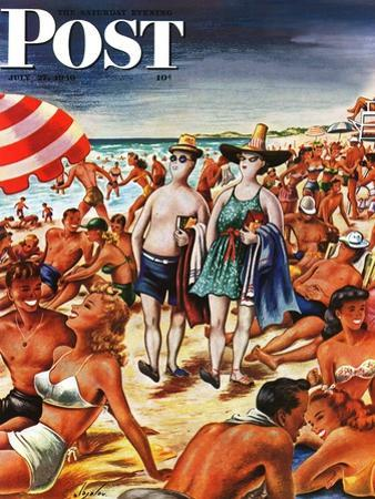 """Palefaces at the Beach,"" Saturday Evening Post Cover, July 27, 1946 by Constantin Alajalov"