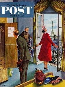 """Paris Hotel"" Saturday Evening Post Cover, July 14, 1956 by Constantin Alajalov"