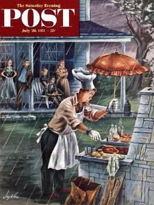 """""""Rainy Barbecue"""" Saturday Evening Post Cover, July 28, 1951 by Constantin Alajalov"""