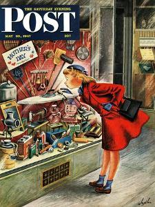 """Shopping for Mother's Day,"" Saturday Evening Post Cover, May 10, 1947 by Constantin Alajalov"