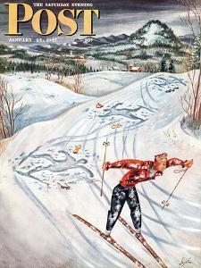 """""""Snow Skiier After the Falls,"""" Saturday Evening Post Cover, January 25, 1947 by Constantin Alajalov"""