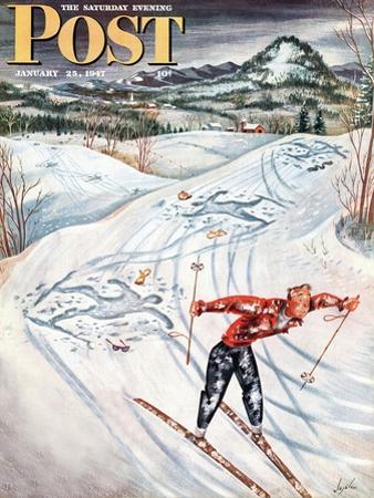 """""""Snow Skiier After the Falls,"""" Saturday Evening Post Cover, January 25, 1947"""