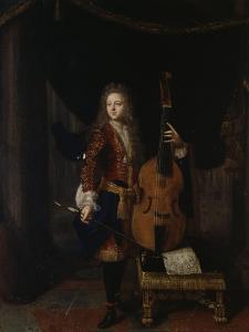 Portrait du musicien Johan Schenk (jouant une partition de Marin Marais) by Constantin Netscher