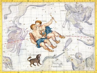 """Constellation of Gemini with Canis Minor, Plate 13 from """"Atlas Coelestis""""-Sir James Thornhill-Giclee Print"""