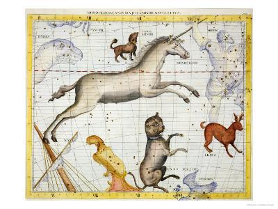 """Constellation of Monoceros with Canis Major and Minor, Plate 13 from """"Atlas Coelestis""""-Sir James Thornhill-Giclee Print"""