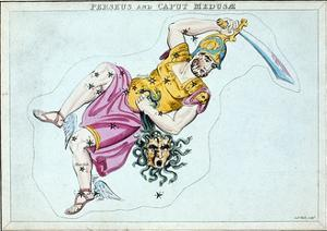 Constellation of Perseus, Showing Him Carrying the Head of Medusa, C1820