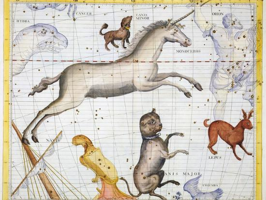 Constellations of Monoceros, Canis Major and Canis Minor, 1729-Unknown-Giclee Print