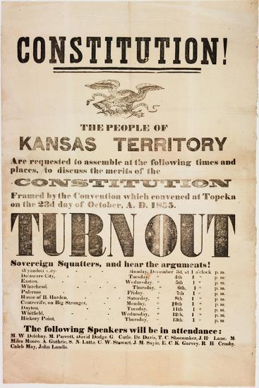 Constitution! the People of the Kansas Territory are Requested to Assemble..., Printed by E. C.…--Giclee Print