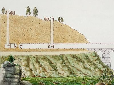 Constructing the Aqueduct Passing Through Mountain--Giclee Print