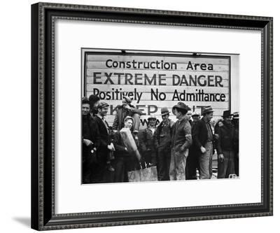 Construction Area: Extreme Danger, Positively No Admittance, Keep Out, at Grand Coulee Dam-Margaret Bourke-White-Framed Premium Photographic Print