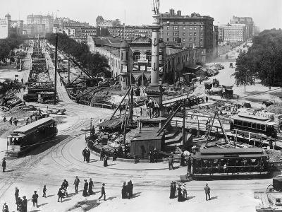 Construction at Columbus Circle in New York City--Photographic Print