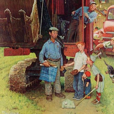 """Construction Crew"", August 21,1954-Norman Rockwell-Giclee Print"