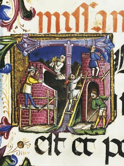 Construction of Buildings, Miniature from a Roman Missal, Italy 15th Century--Giclee Print