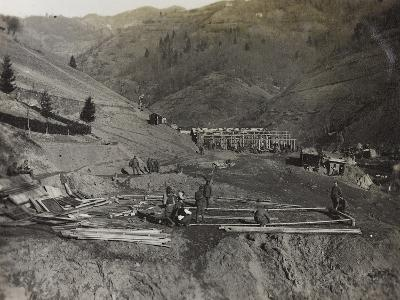 Construction of Military Barracks in the Valley Doblar During the First World War-Luigi Verdi-Photographic Print