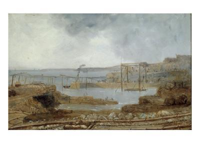 Construction of Seaham Harbour, 1829-Robert Mackreth-Giclee Print