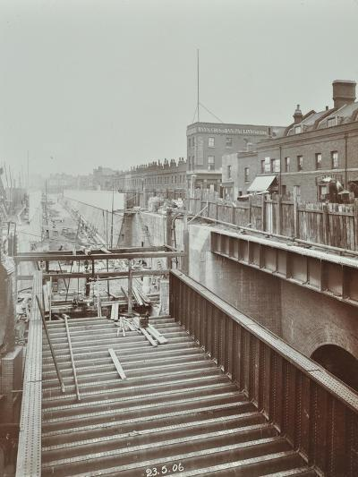Construction of the Bridge Approach to Rotherhithe Tunnel, Bermondsey, London, 1906--Photographic Print