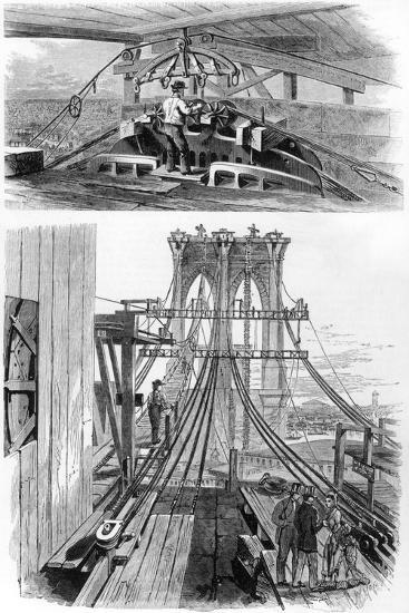 Construction of the Brooklyn Suspension Bridge, New York, USA, 1880--Giclee Print