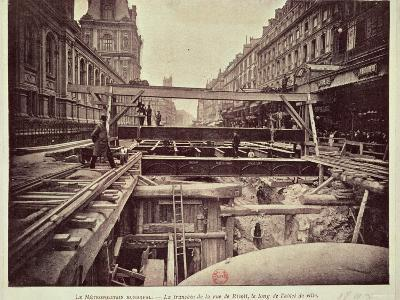 Construction of the Metro System Along the Rue de Rivoli, 1898--Photographic Print