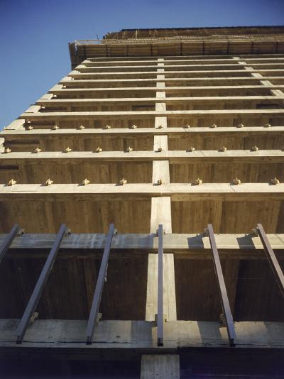 Construction of the Seagram's Building Designed by Architect Mies Van Der Rohe-Frank Scherschel-Photographic Print