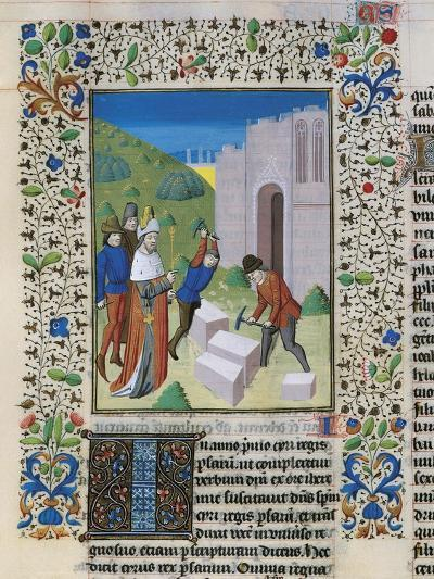 Construction of the Temple of Jerusalem, Miniature from the Bible of St John XXII--Giclee Print