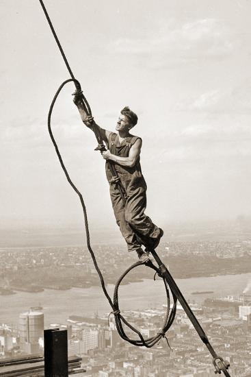 Construction Worker, Empire State Building, New York City, C.1930-Lewis Wickes Hine-Photographic Print