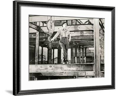 Construction Worker on Job Site--Framed Photo